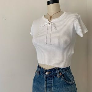 Brandy Melville white ribbed tie front knit top